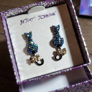 Betsey Johnson Boo to you cat earrings